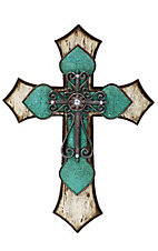 HiEnd Accents Wooden Turquoise Tooled Cross