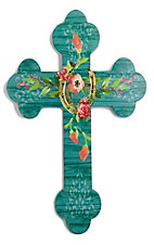 Teel Wooden Cross with Horseshoe and Floral Design