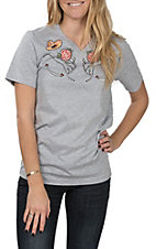 XOXO Art & Co. Women's Grey Western Wear V-Neck T-Shirt