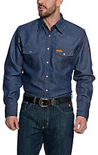 Wrangler Mens Flame Resistant Denim Workshirt