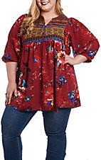 Umgee Women's Burgundy Floral Neck Dress/Tunic - Plus Size