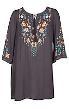Umgee Women's Grey Floral Embroidered Tassel Neck Tie Dress - Plus Size