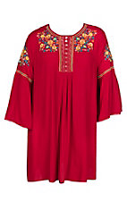 Umgee Women's Red w/ Floral Embroidery L/S Peasant Dress - Plus Size