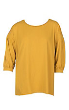 Umgee Women's Mustard Scoop Neck with Balloon 3/4 Sleeves Casual Knit Top - Plus Sizes