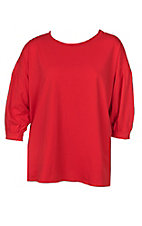 Umgee Women's Red Scoop Neck with Balloon 3/4 Sleeves Casual Knit Top - Plus Sizes