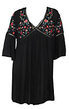 Umgee Women's Black with Floral Embroidery 3/4 Bell Sleeve Tunic Fashion Top - Plus Sizes