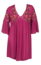 Umgee Women's Pink with Floral Embroidery 3/4 Bell Sleeve Tunic Fashion Top - Plus Sizes