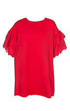 Umgee Women's Red Pocket with Ruffle Eyelet Lace Short Sleeves Dress - Plus Size