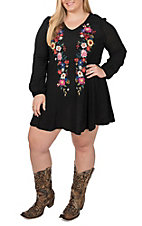 Umgee Women's Black V-Neck Embroidered Dress - Plus Size