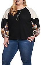 Umgee Women's Black Waffle Knit with Floral Print Puff Sleeves Casual Knit Top