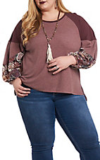 Umgee Women's Wine Waffle Knit with Floral Print Puff Sleeves Casual Knit Top - Plus Size