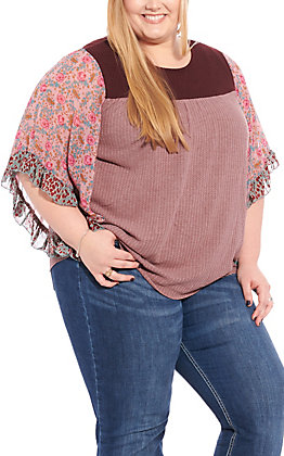 Umgee Women's Mauve and Maroon Waffle Knit with Floral Dolman Sleeves Fashion Top - Plus Sizes
