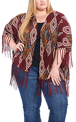 Umgee Women's Maroon Aztec Print with Fringe Short Sleeve Kimono