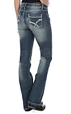 Wired Heart Women's Medium Wash Open Pocket Boot Cut Jeans