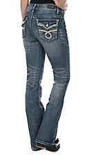 Wired Heart Women's Medium Wash With Embroidery Flap Pocket Boot Cut Jeans