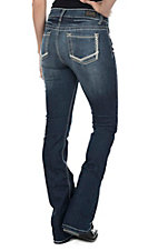 Wired Heart Women's Dark Wash with Zig Zag Stitch Open Pocket Boot Cut Jeans
