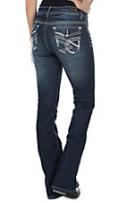 Wired Heart Women's Dark Wash with Silver Thick Stitch Swirl Embroidery Flap Pocket Boot Cut Jeans