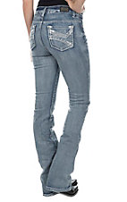 Wired Heart Women's Light Wash Thick Stitch Open Pocket Boot Cut Jeans
