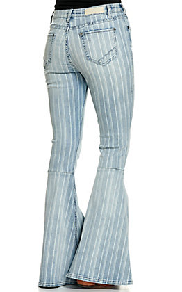 Rock & Roll Denim Women's Light Wash with Stripes High Rise Bell Bottom Jeans