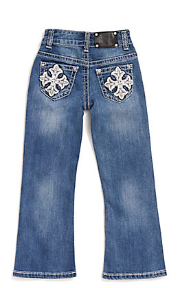 Wired Heart Girl's Faux Leather Cross Pocket Boot Cut Jeans