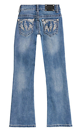 Wired Heart Girls' Medium Wash Feather Arrow Embroidery Boot Cut Jeans