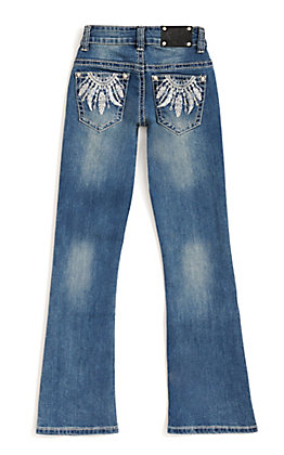 Wired Heart Girl's Medium Wash with Feather Embroidery Boot Cut Jean