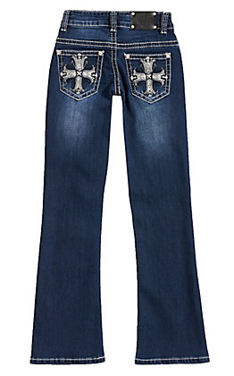 Wired Heart Girls' Dark Wash Sequin Cross Embroidery Boot Cut Jeans