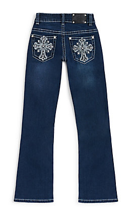 Wired Heart Girls' Dark Wash Fleur Cross Embroidery Boot Cut Jeans