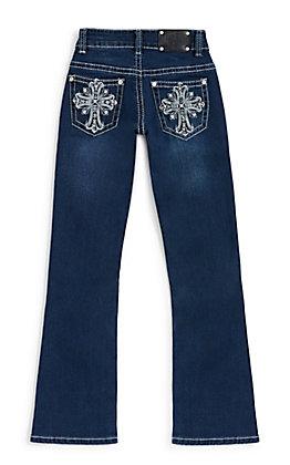 Wired Heart Girls' Dark Wash Fleur Cross Embroidery Boot Cut Jeans