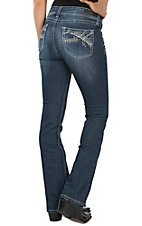 Wired Heart Women's White Heavy Stitch Boot Cut Jeans