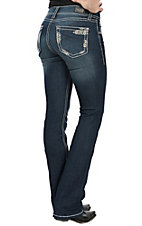 Wired Heart Women's Dark Wash Thick Stitching & Crystals Boot Cut Jeans