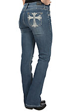 Wired Heart Women's Large Heavy Stitch Cross Embroidered Boot Cut Jeans