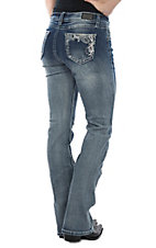 Wired Heart Light Wash Swirl Embroidery Boot Cut Jeans