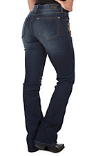 Wired Heart Women's Floral Embroidered Boot Cut Jean