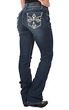 Wired Heart Women's Cross Boot Cut Faux Flap Jeans