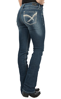 Wired Heart Women's Boot Cut Heavy Stitch Jeans