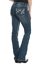 Wired Heart Women's Embroidered Dark Wash Boot Cut Jeans