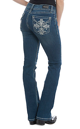 Wired Heart Women's Embroidered Swirl Cross Dark Wash Boot Cut Jeans