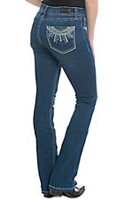 Wired Heart Women's Embroidered Open Pocket Boot Cut Jeans