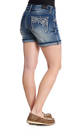 Wired Heart Women's Embroidered Diamond Denim Short