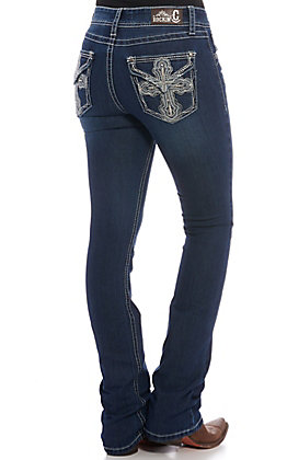 Rockin' C Women's Embroidered Cross Dark Wash Boot Cut Jeans
