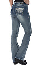 Wired Heart Women's Medium Wash Large Diamond Stitching Boot Cut Jeans