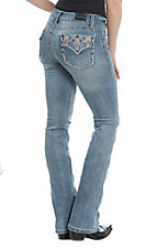 Wired Heart Women's Diamond Embroidered Light Wash Boot Cut Jeans