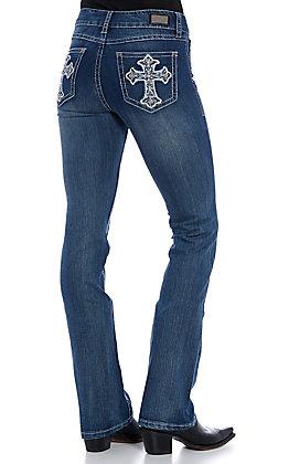 Wired Heart Women's Medium Wash Cross Embellished Boot Cut Jeans