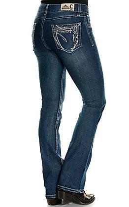 Rockin' C Women's Medium Wash Geo Stitch Easy Fit Boot Cut Jeans
