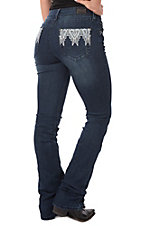 Wired Heart Women's Aztec Open Pocket Boot Cut Jeans