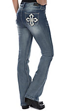 Wired Heart Women's Light Wash Cross Stitched Pocket Boot Cut Jeans