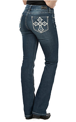 Wired Heart Women's White Cross Open Pocket Boot Cut Jeans