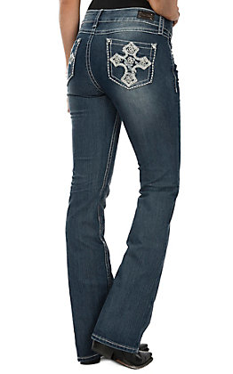 Wired Heart Women's White Cross Boot Cut Jeans