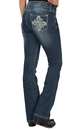 Wired Heart Women's Rhinestone Cross Boot Cut Jeans
